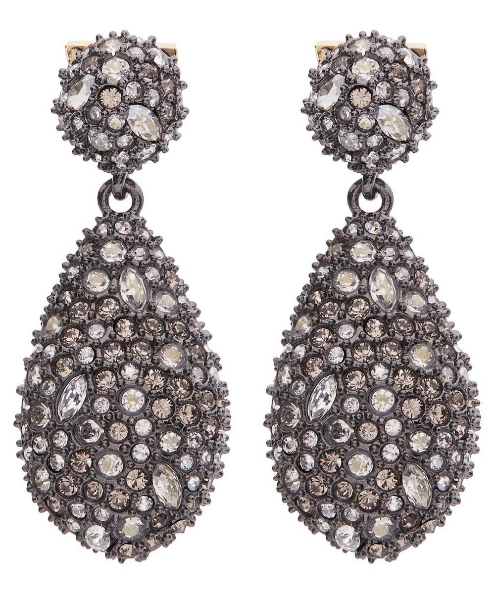 Gold-Plated Pavé Pod Crystal Drop Earrings