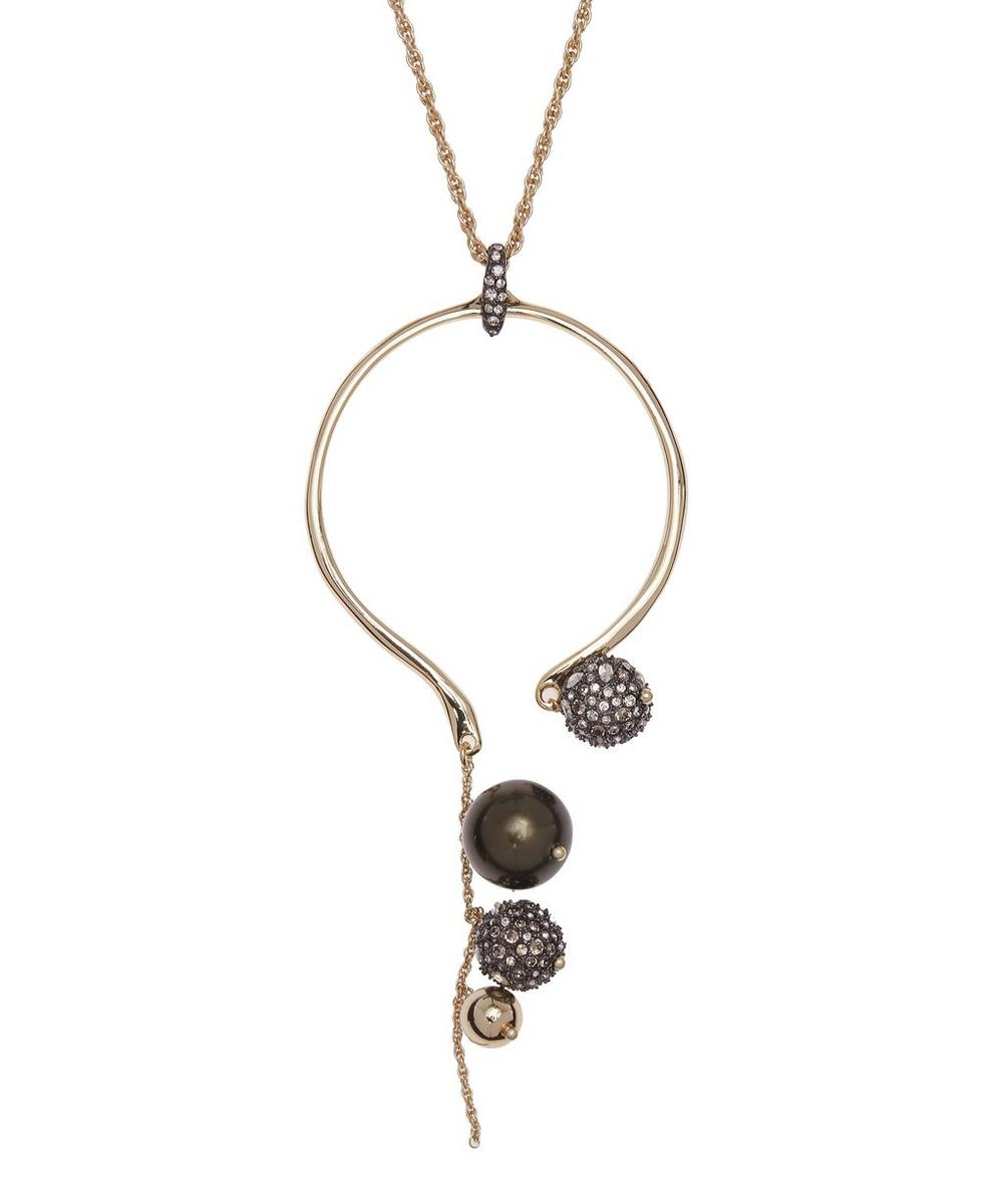 Gold-Plated Bead Cluster Arc Pendant Necklace