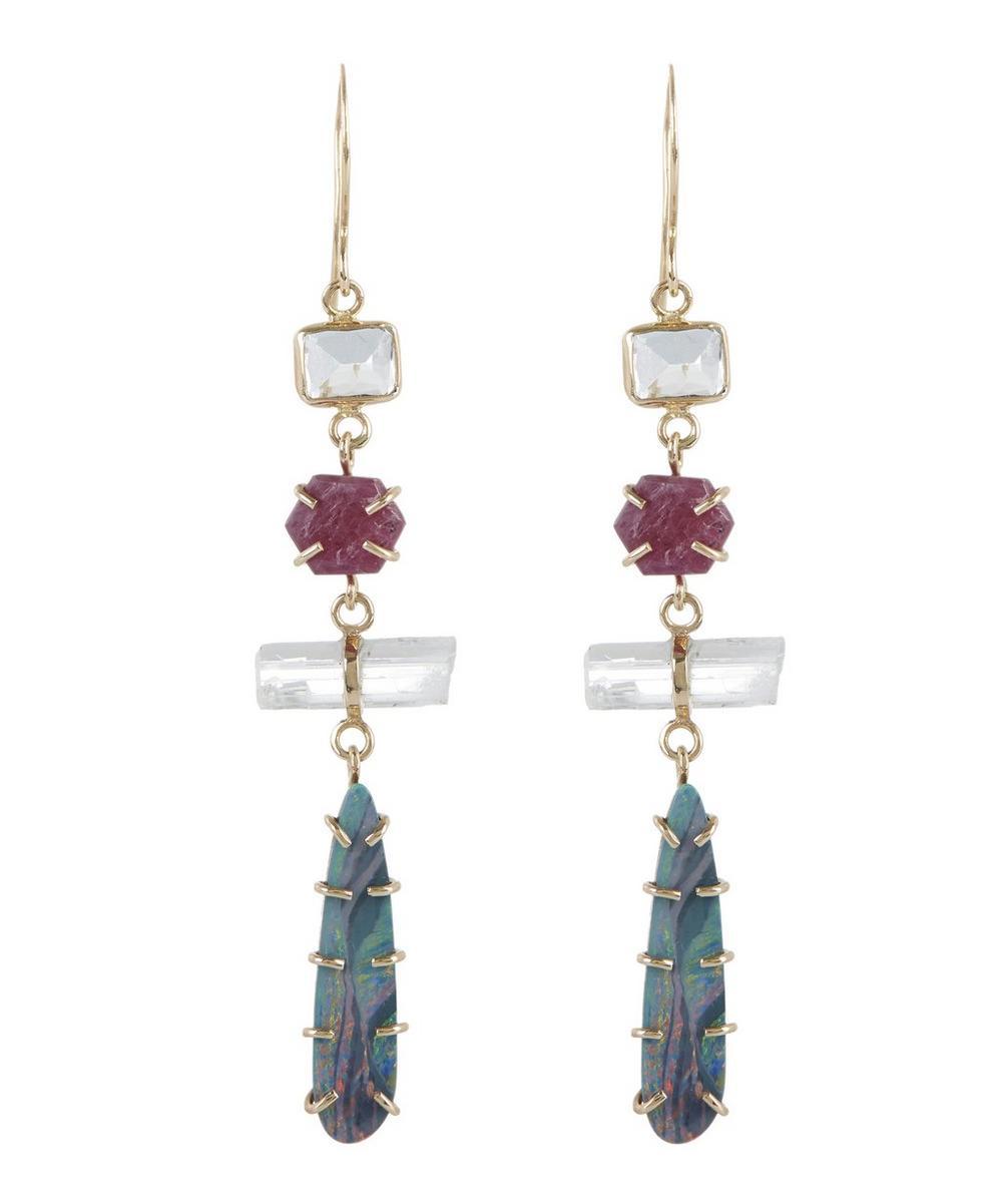 Gold Multi-Stone Three-Drop Earrings