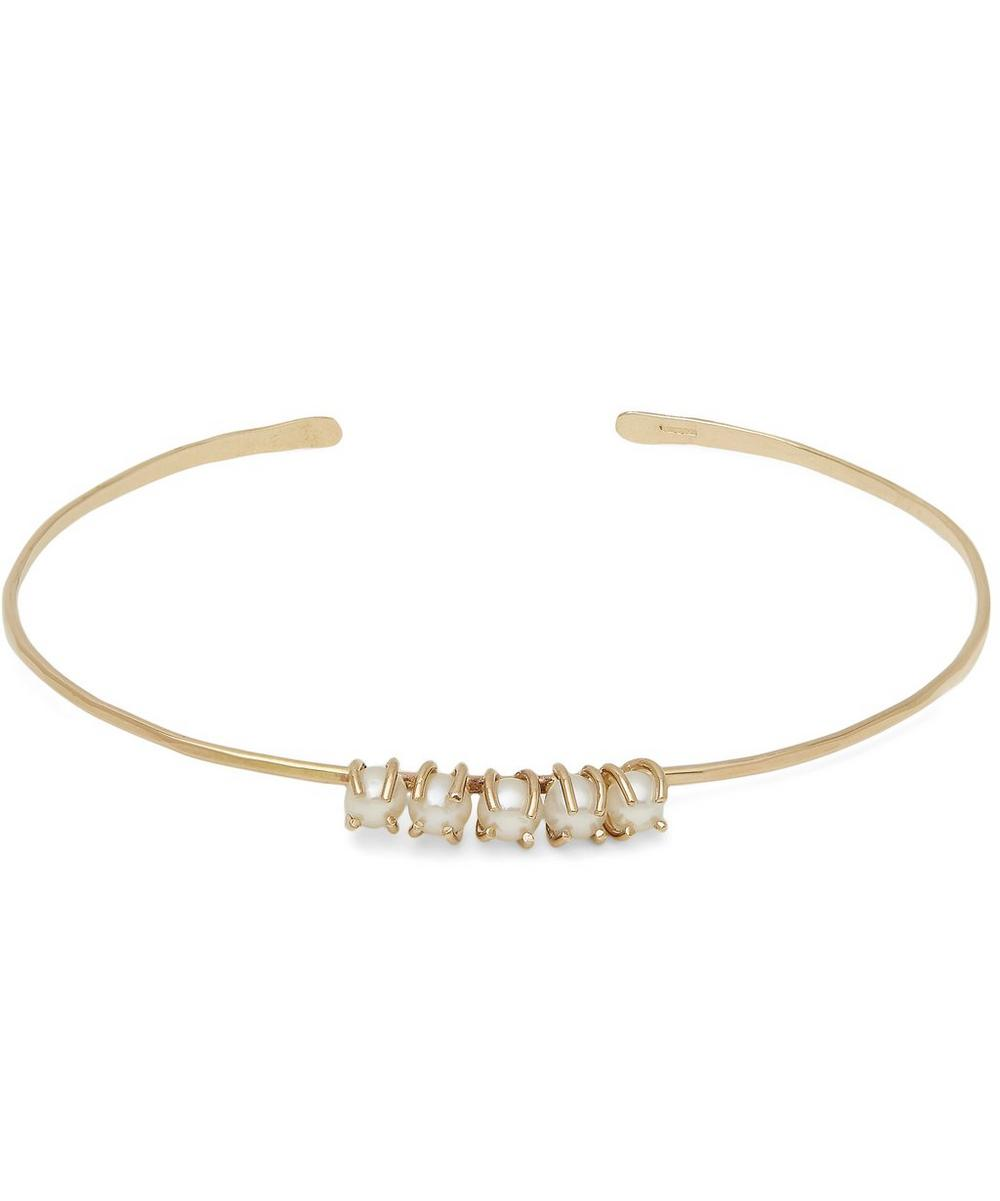Gold Chinese Freshwater Pearl Cuff Bracelet