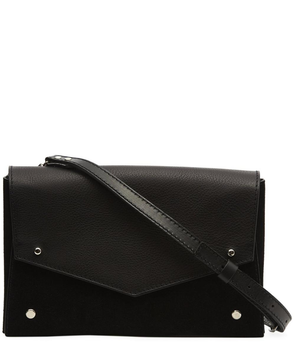 One Flap Suede and Leather Cross Body Bag