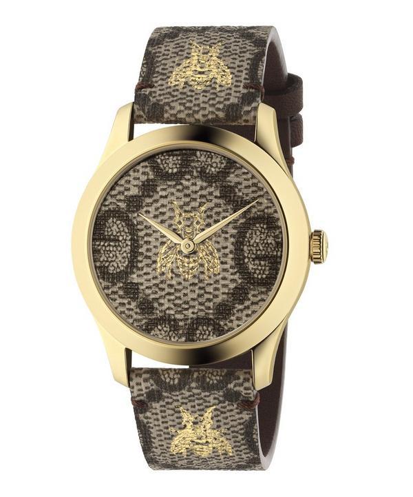 814b652fe38 G-Timeless Leather Logo Bee Motif Watch ...