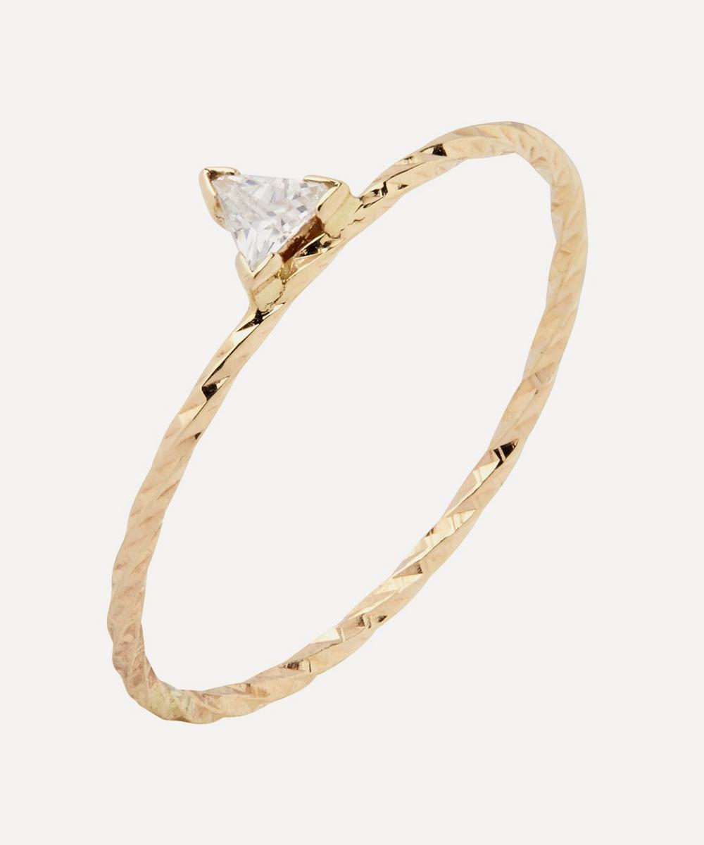 Gold Diamond Cut Viper Trillion Sapphire Ring