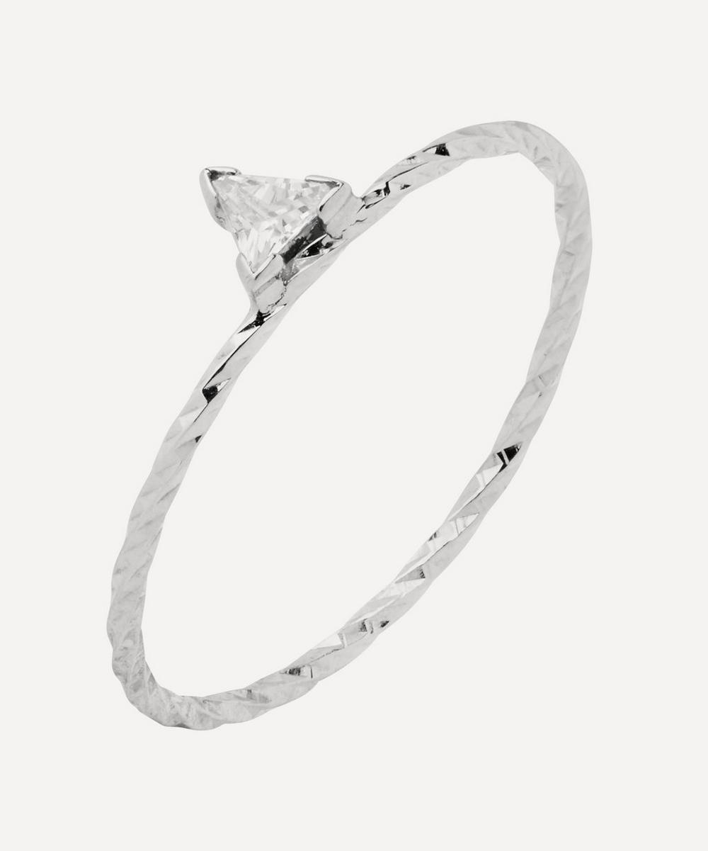 White Gold Diamond Cut Viper Trillion Sapphire Ring