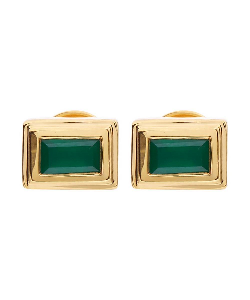 Gold-Plated Green Onyx Baja Deco Stud Earrings