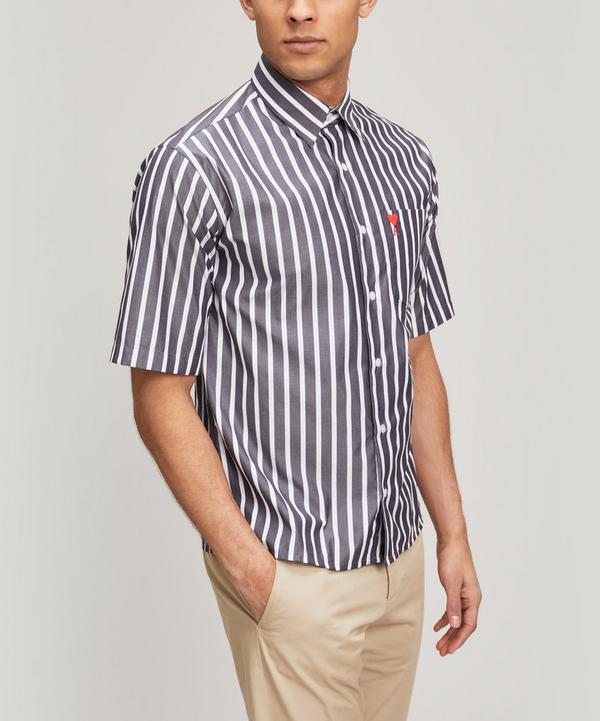 Short-Sleeve Stripe Heart Logo Shirt