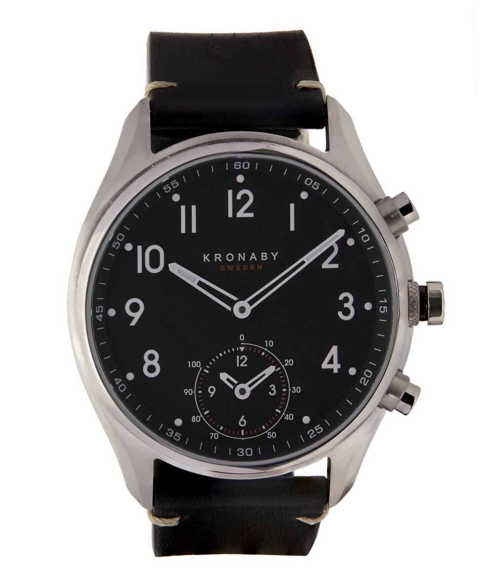Apex Stainless Steel Leather Strap Smart Watch