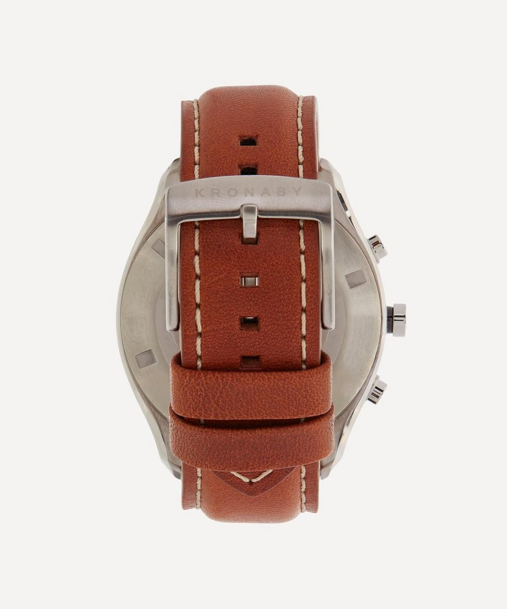 Sekel Stainless Steel Leather Strap Smart Watch