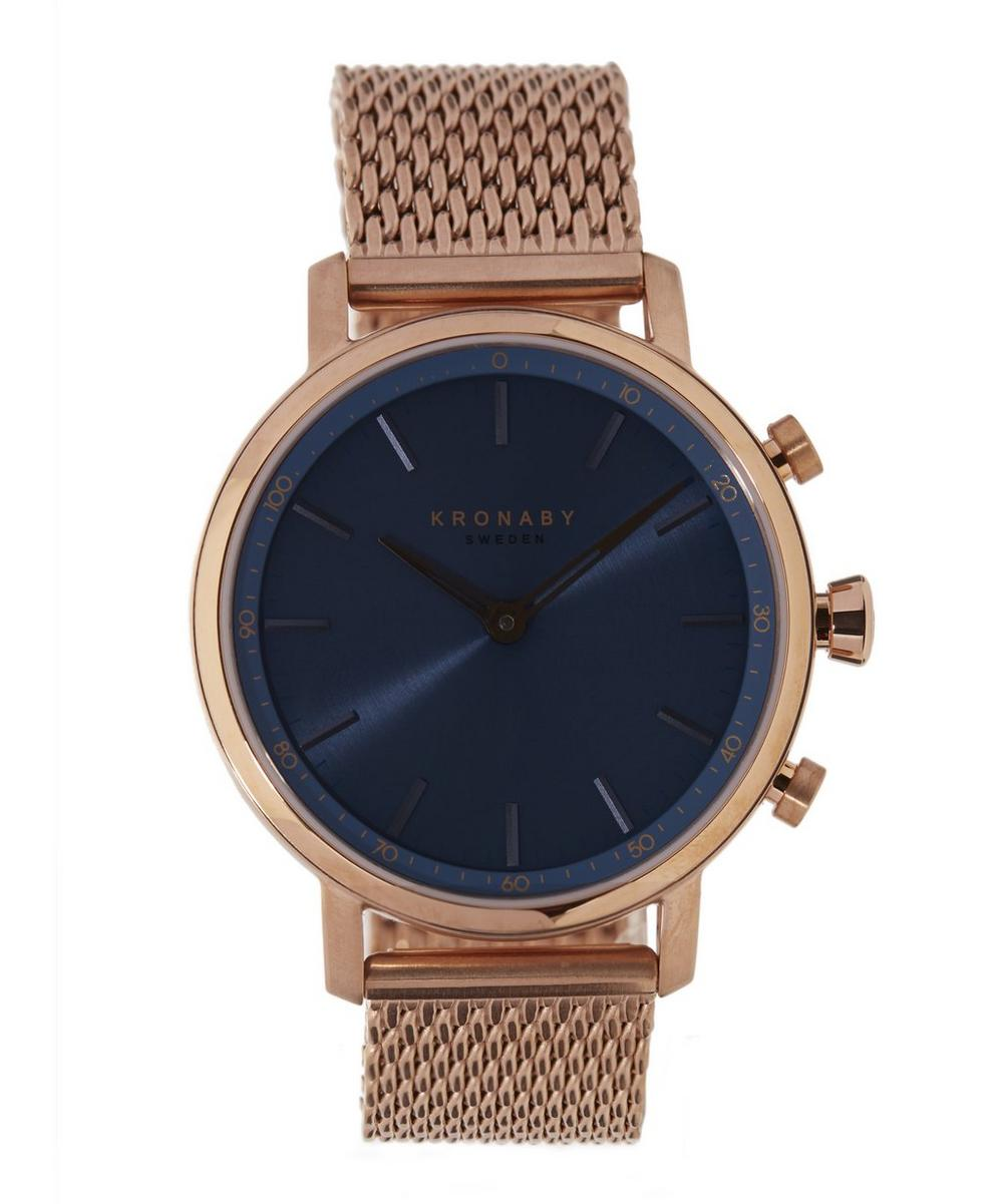 Carat Blue Dial Rose Gold Mesh Strap Watch