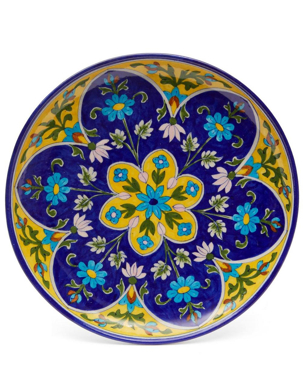 Blue Pottery Large Yellow Flower Decorative Plate