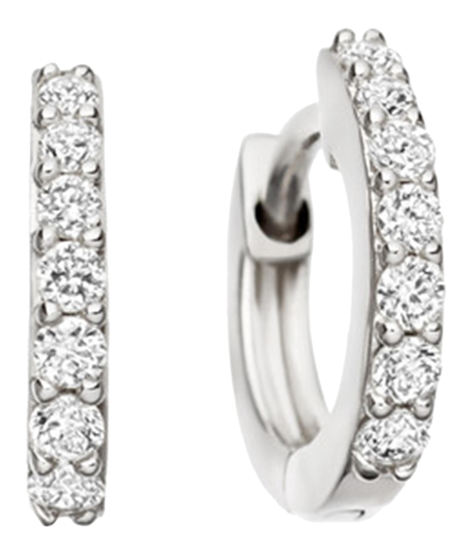 8477dba3ad2a9 White Gold Mini Halo Diamond Hoop Earrings