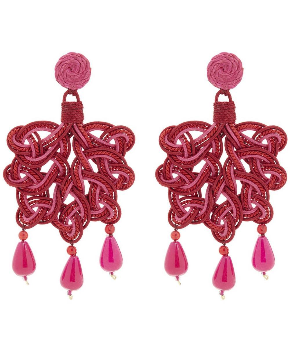 Silk Passementerie Foglia Rose Silica Quartz Drop Earrings
