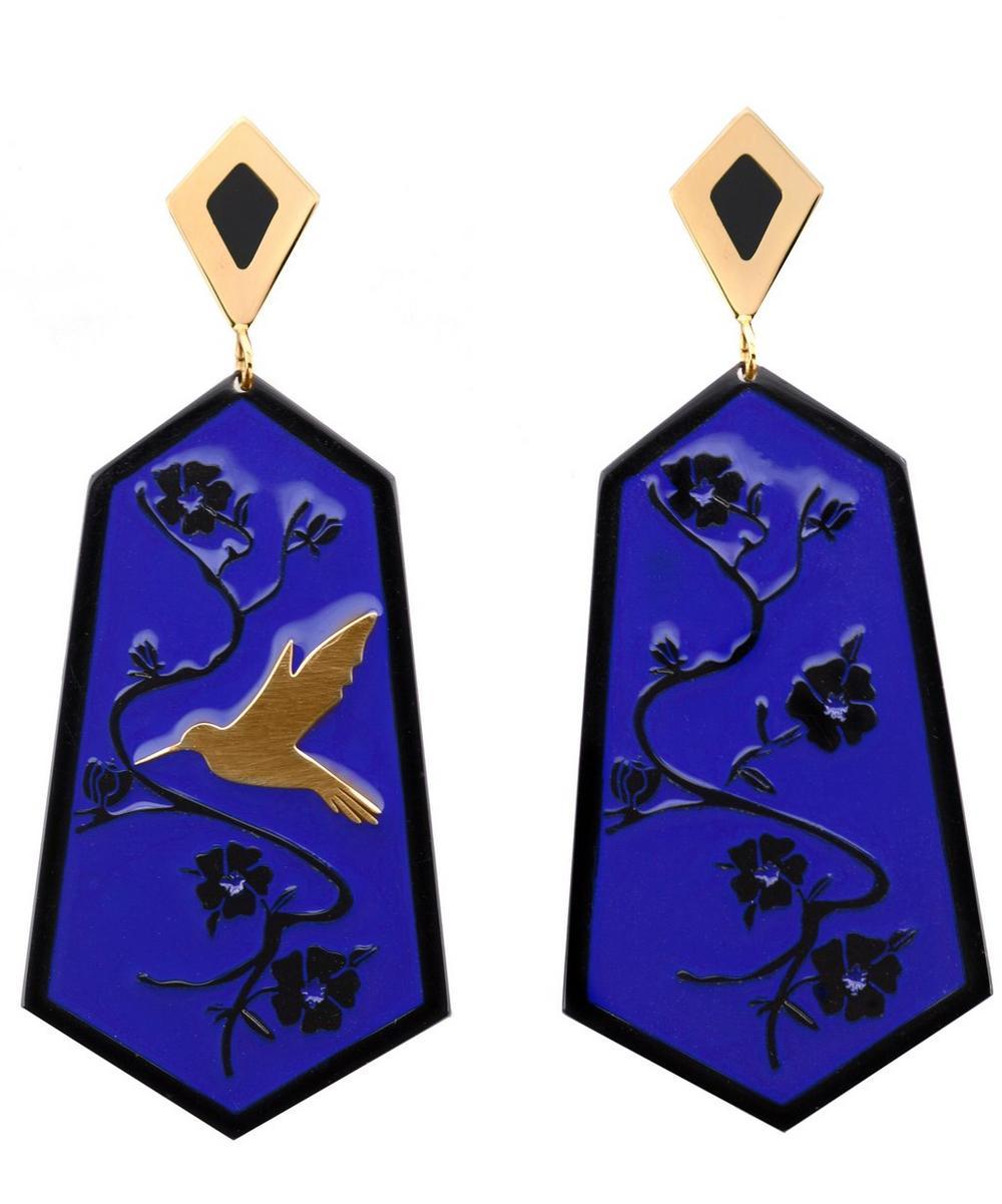 Gold-Plated Fiori di Ciliegio Enamel Drop Earrings