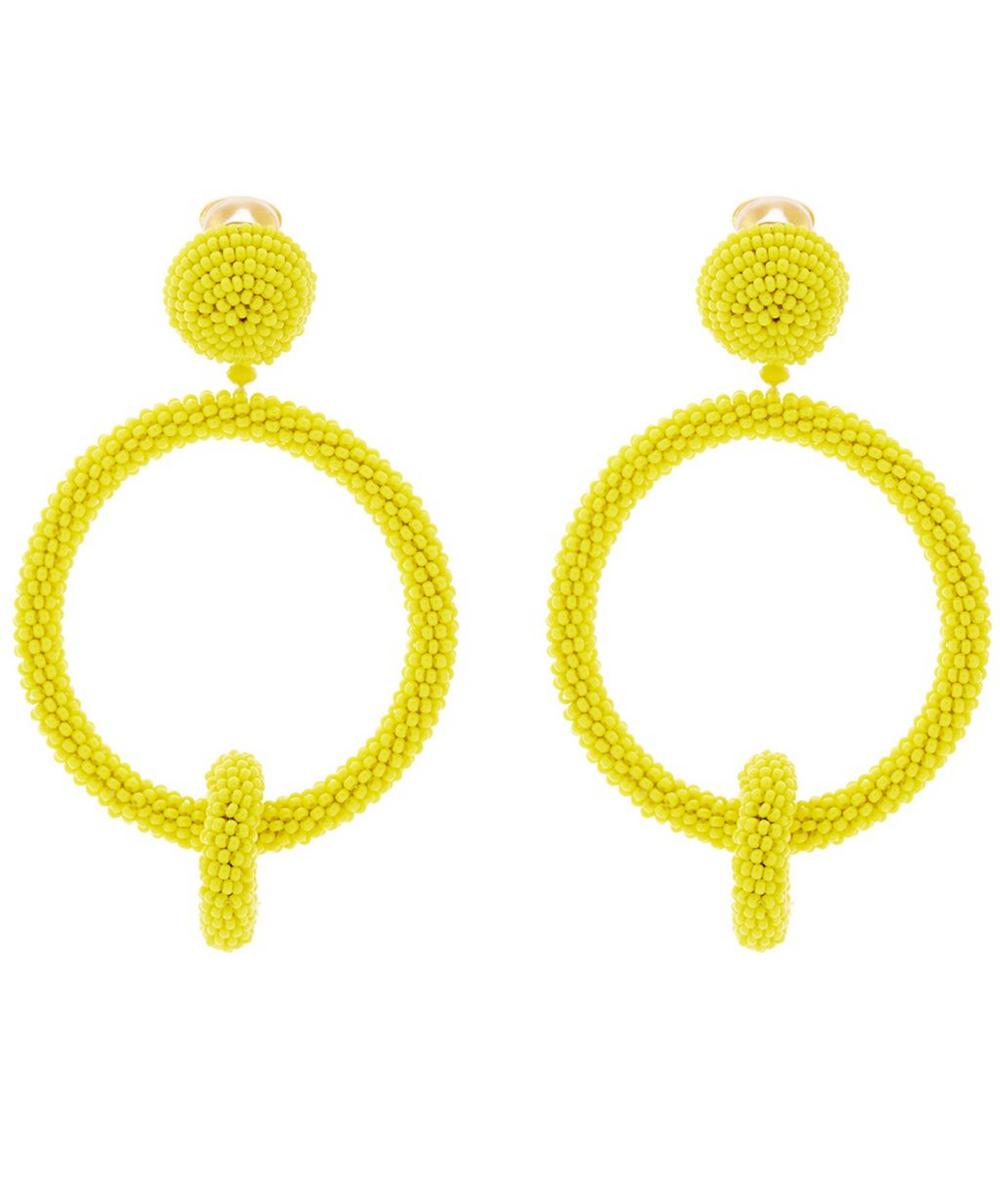 Beaded Double Hoop Clip-On Earrings