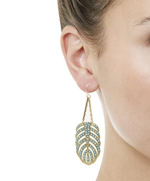 Gold-Plated Hibiscus Chandelier Earrings