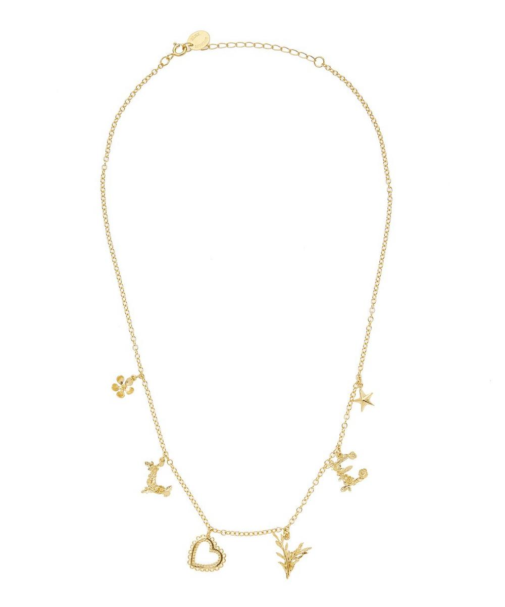 Gold-Plated Love Mixed Charm Necklace