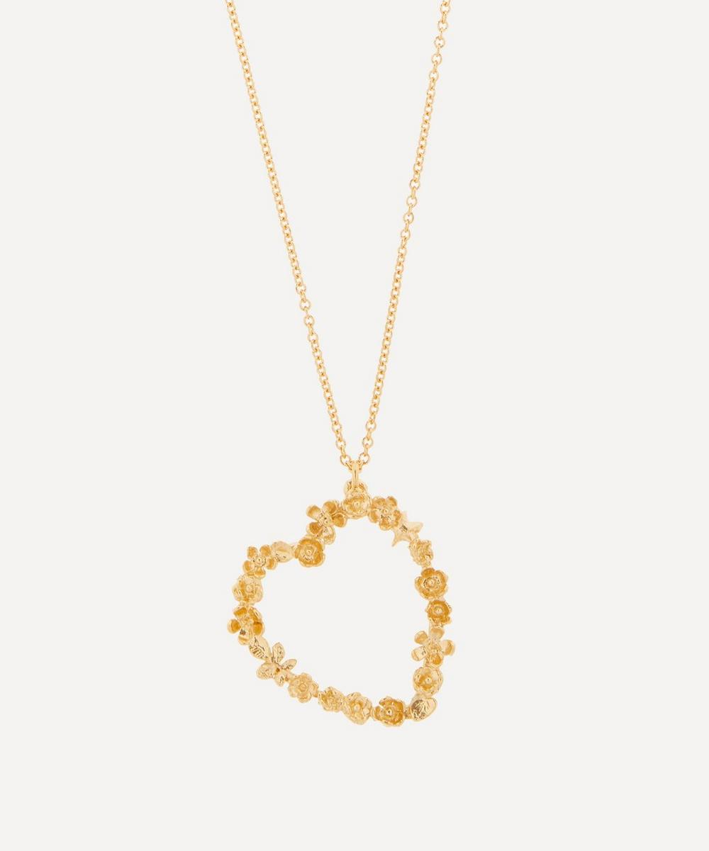 Gold-Plated Floral Heart Pendant Necklace