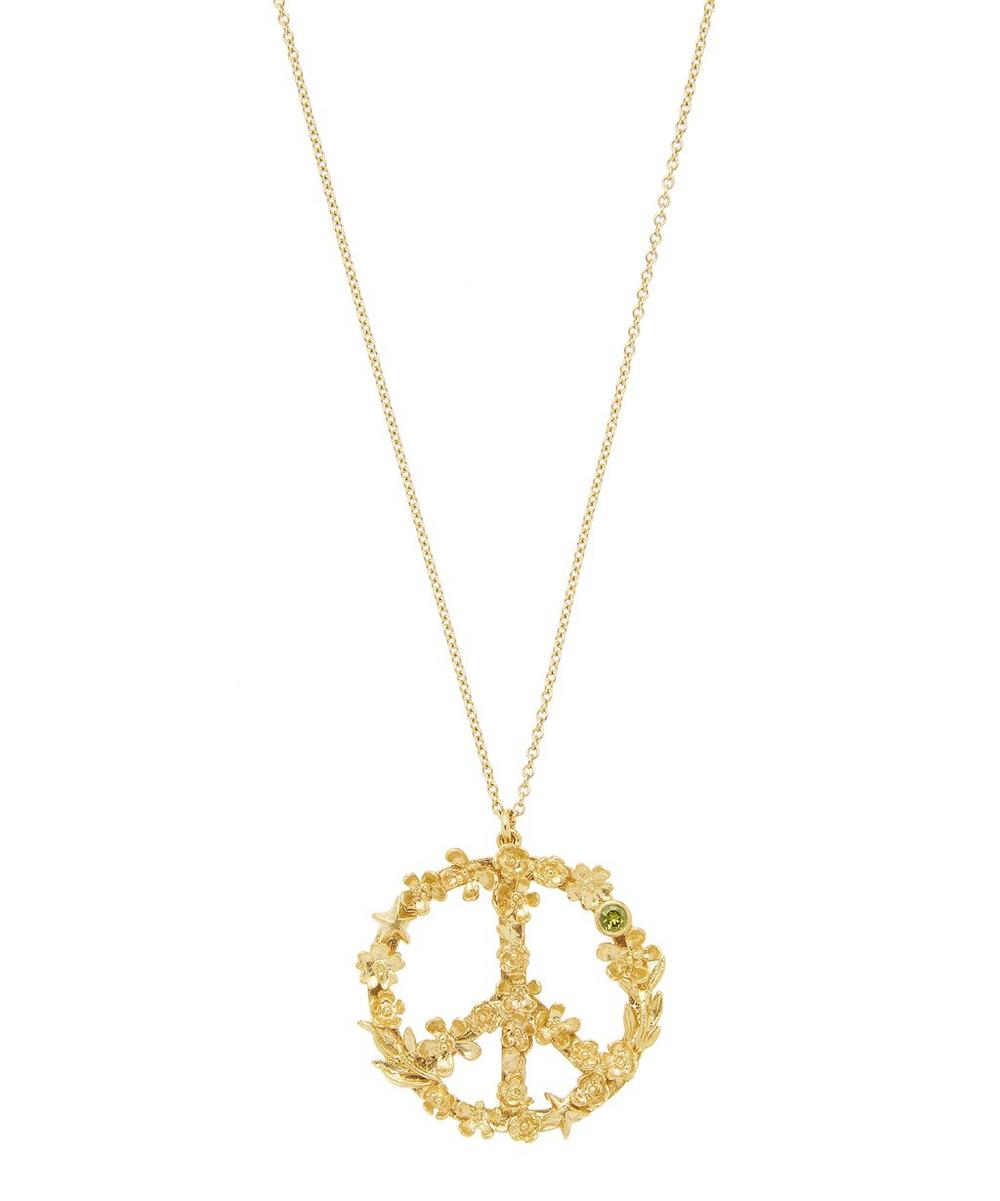 Gold-Plated Flower Power Peace Sign Necklace