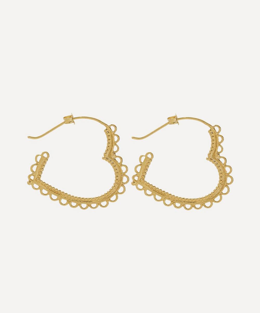 Gold Plated Lace Edged Heart Hoop Earrings