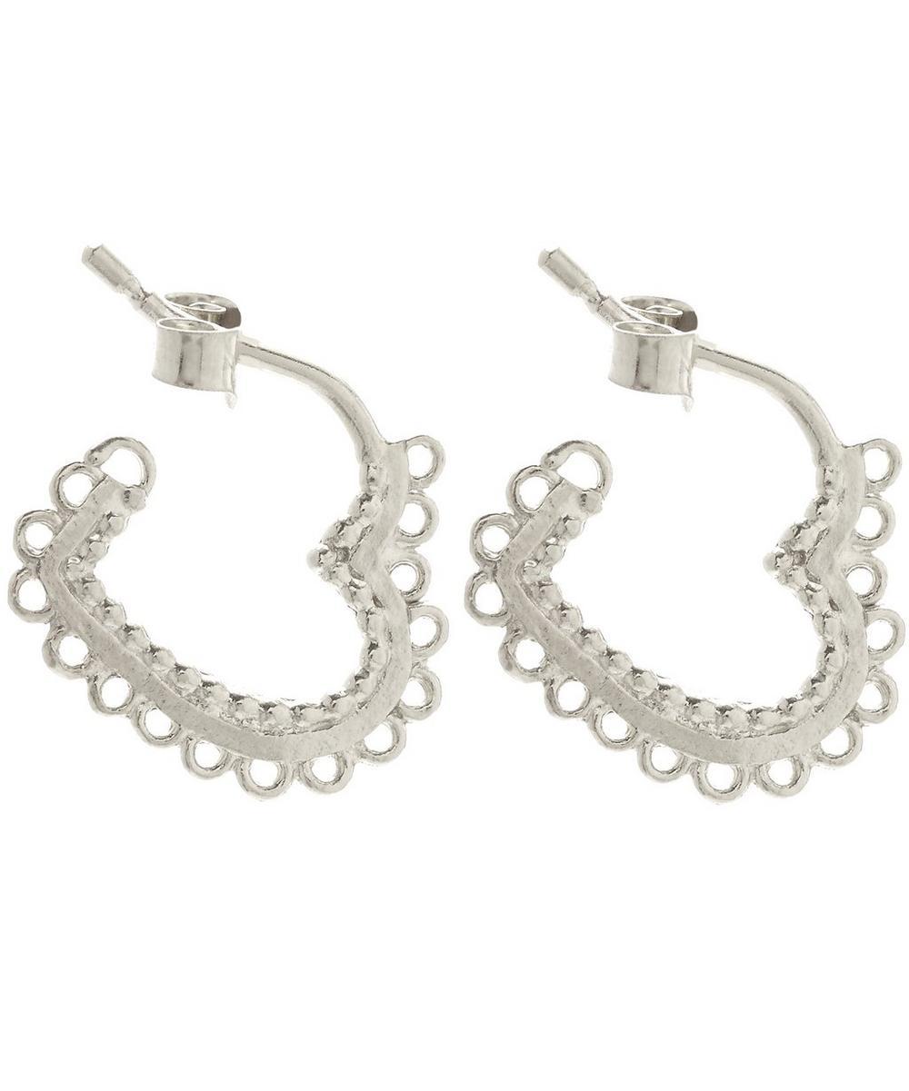 Silver Small Lace-Edged Heart Hoop Earrings