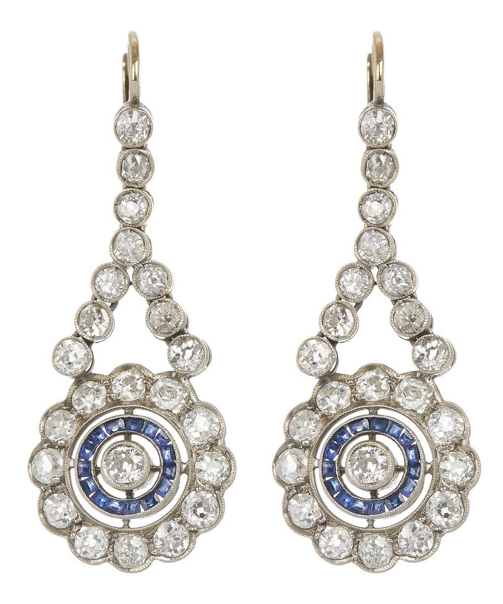 White Gold Edwardian Diamond and Sapphire Drop Earrings
