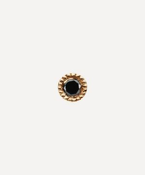 1.5mm Scalloped Set Black Diamond Threaded Stud Earring