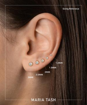 1.5mm Scalloped Set Black Diamond Threaded Stud Earring