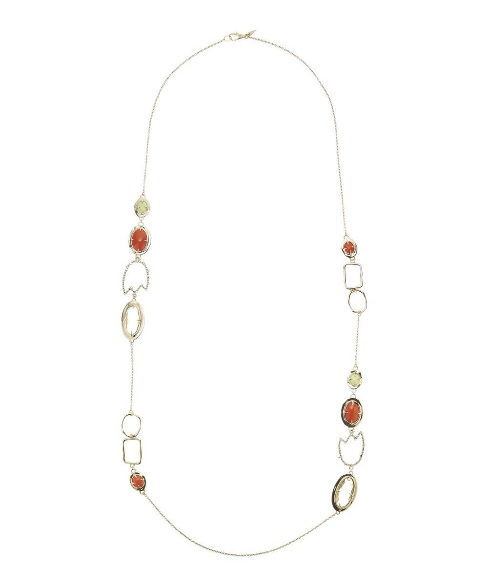 Alexis Bittar Crystal Encrusted Abstract Tulip Stone Station Necklace 0Ht27