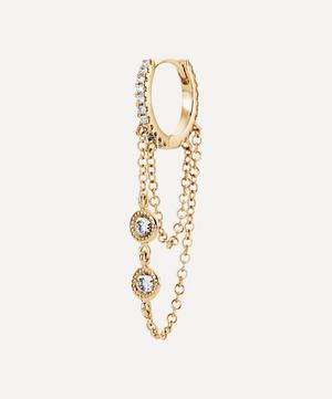"5/16"" Two Chain and Floating Diamonds Eternity Hoop Earring"