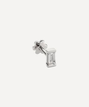 Baguette Diamond Threaded Stud Earring