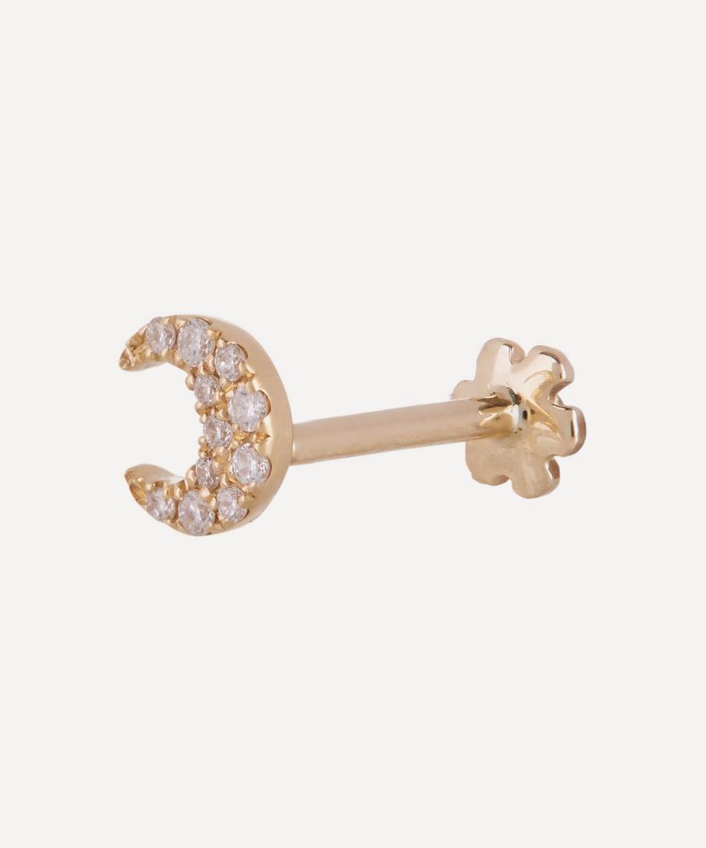 Small Diamond Moon Threaded Stud Earring