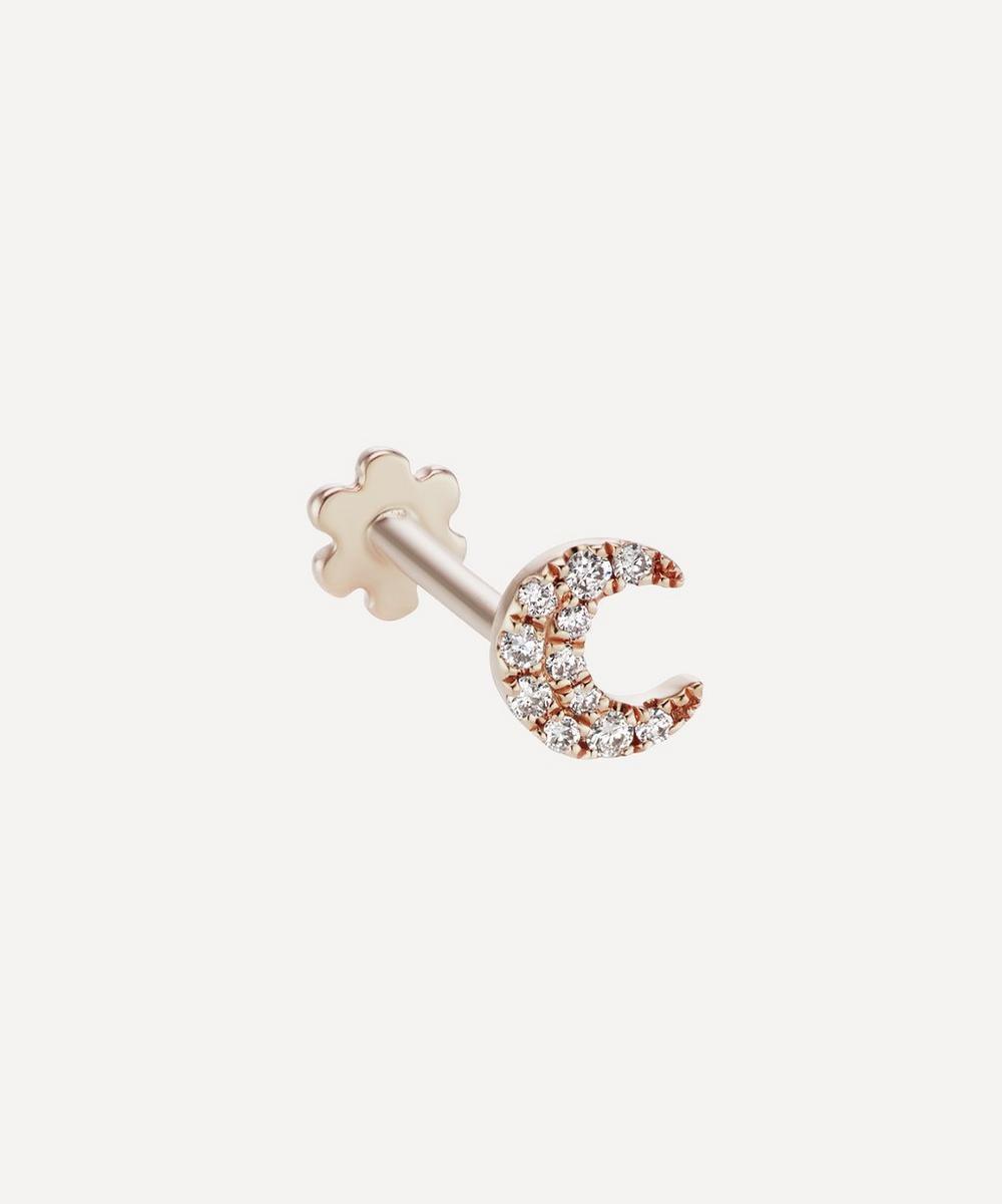 Maria Tash - 18ct Small Diamond Moon Single Threaded Stud Earring