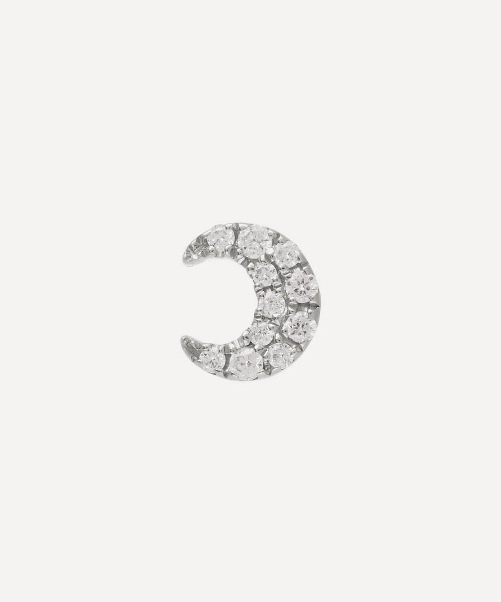 Small Diamond Moon Threaded Stud Earring