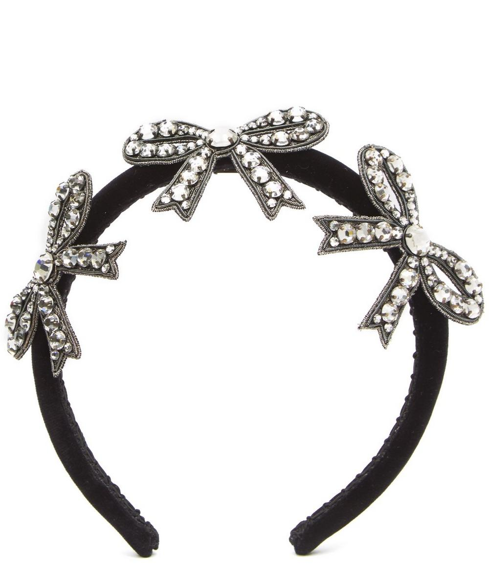 Crystal Embellished Bow Hairband, Black