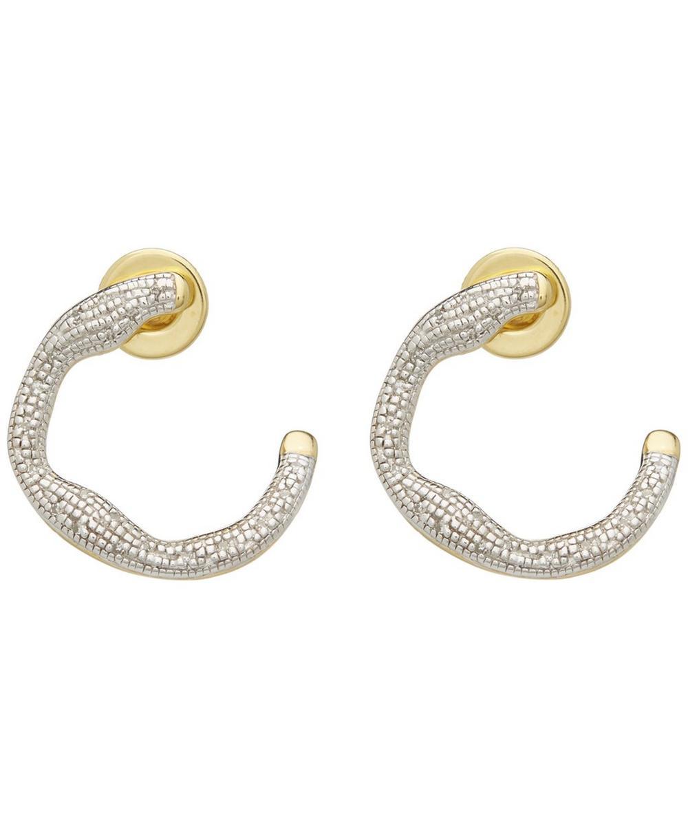 Gold-Plated Riva Diamond Circle Wrap Earrings