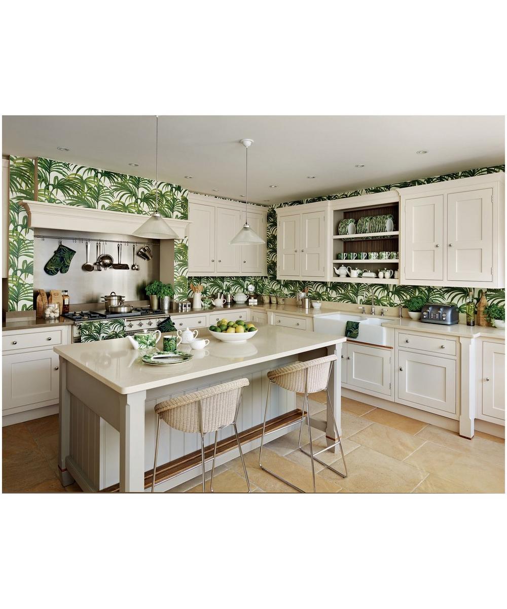 White & Green Palmeral Wallpaper