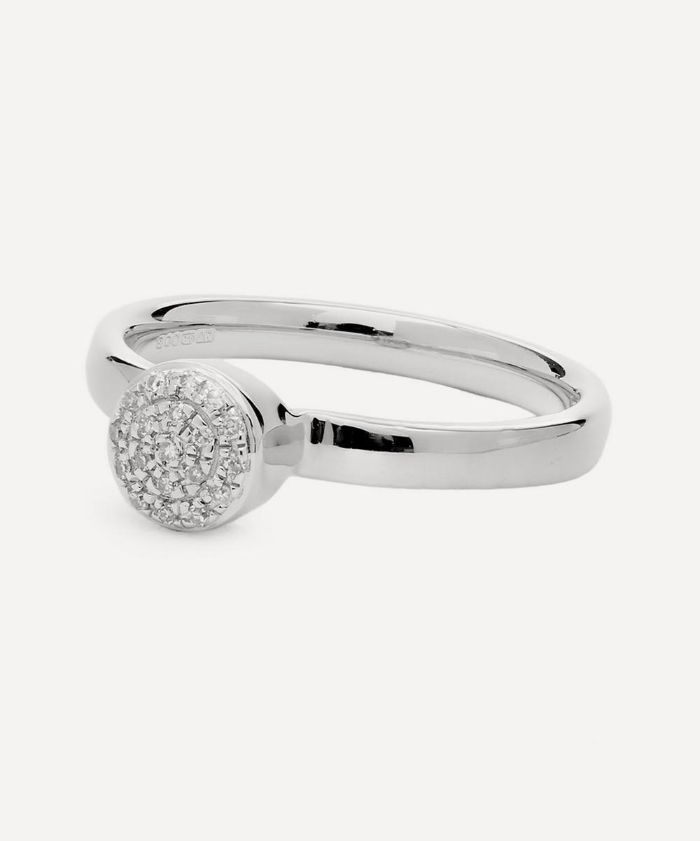 Silver Fiji Mini Diamond Button Ring