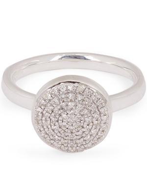 Silver Fiji Large Diamond Button Stacking Ring