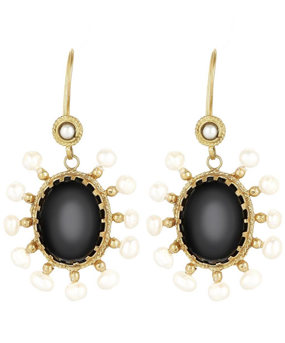 Gold-Plated Black Agate Oval and Pearl Drop Earrings
