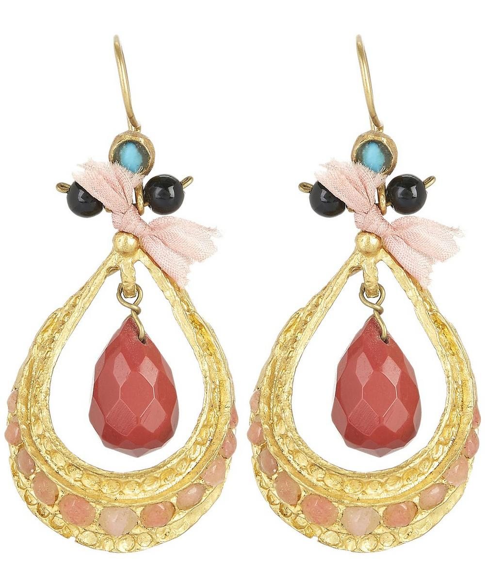 Gold-Plated Baroque Teardrop Pink Agate Earrings