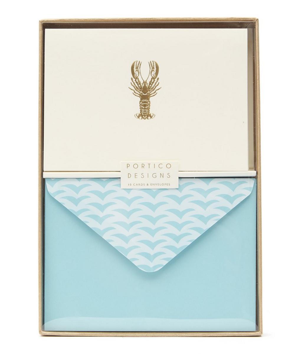 Lobster Gold-Tone Foil Notecards