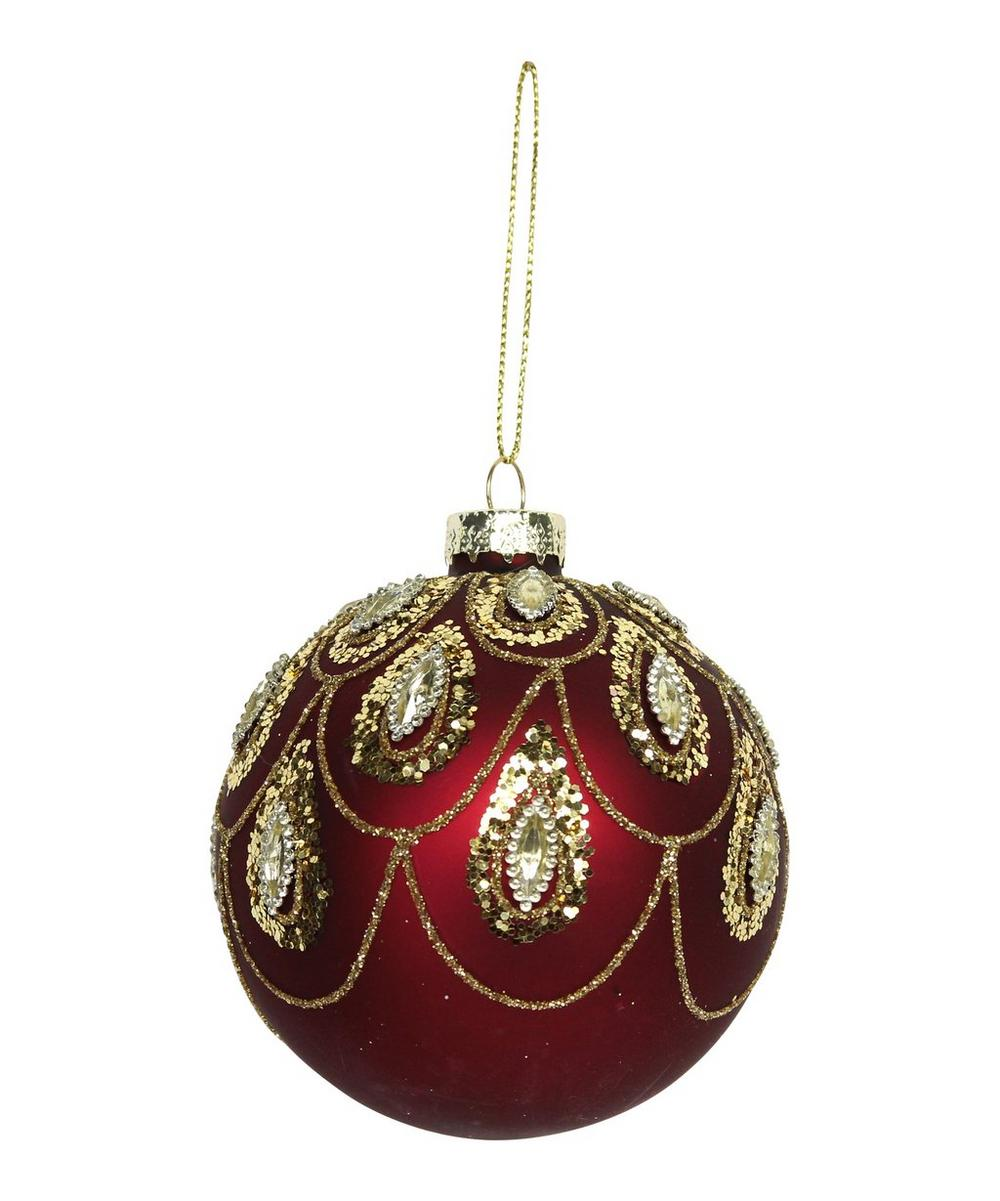 Matte Red and Gold-Tone Sequin Bauble