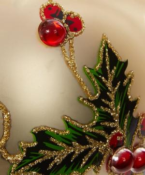Diamante Holly Glass Bauble