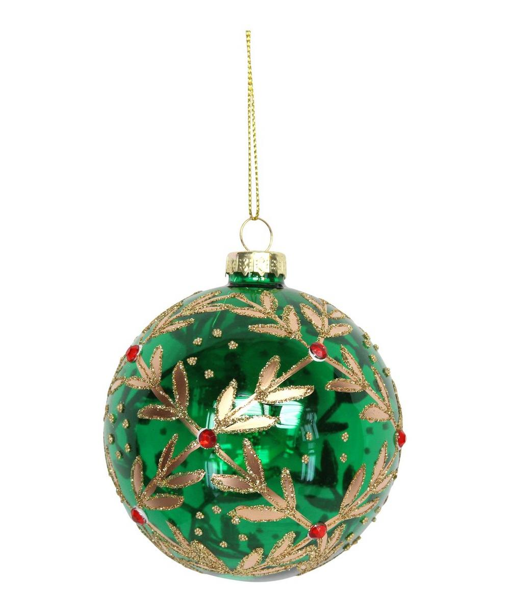 Metallic Glitter Leaves Trellis Bauble
