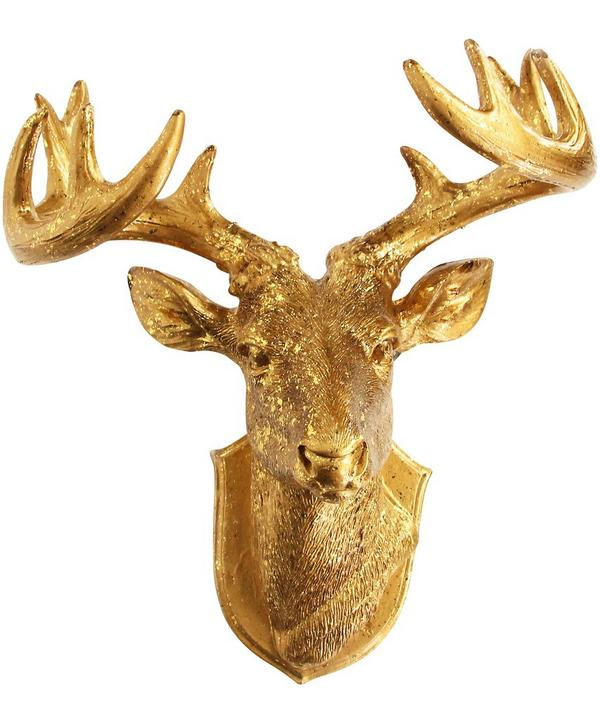 Gold-Tone Stag Head Decoration