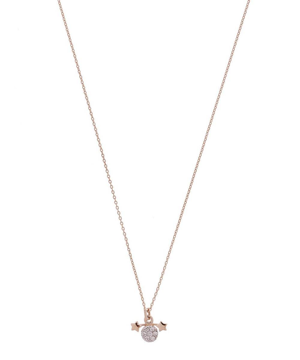 Rose Gold Horoscope Gemini White Diamond Pendant Necklace