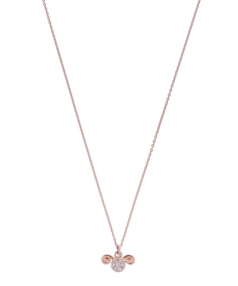Rose Gold Horoscope Aries White Diamond Pendant Necklace