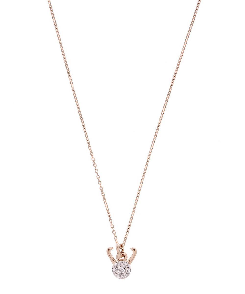 Rose Gold Horoscope Capricorn White Diamond Pendant Necklace