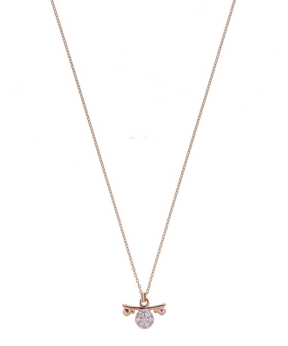 Rose Gold Horoscope Libra White Diamond Pendant Necklace
