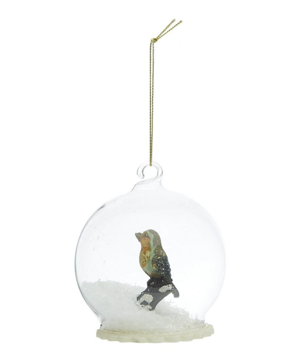 Robin in Snow Dome Decoration